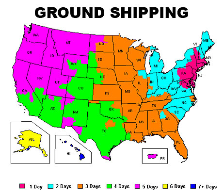 Ground Shipping Map-Our Customer Service is available. Call us at (888) 748-7693.